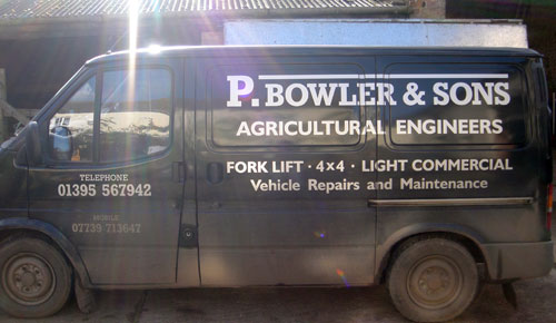 A picture of Paul Bowler's van displaying contact information.
